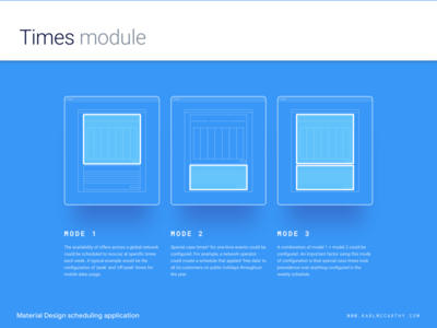 Times module - Configuration modes web app ux ui telecoms software sketchapp sketch schedule product design mock up minimal material design application configuration
