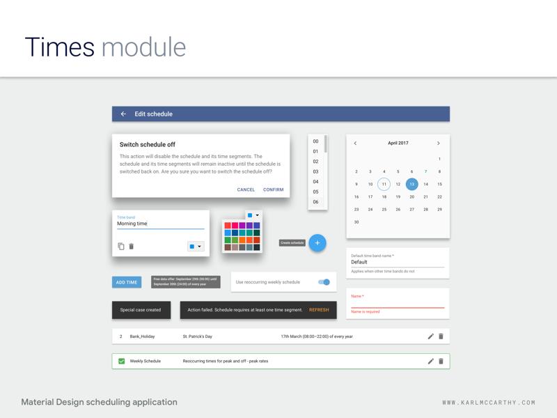 Times Module - Design System design system web app ux ui telecoms software sketchapp sketch schedule product design mock up minimal material design application specification userinterface google