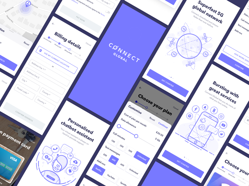 Connect - On boarding uikit 5g application google illustration illustration design material design minimal mobile app mock up product design schedule sketch sketchapp software specification telecoms ui userinterface ux