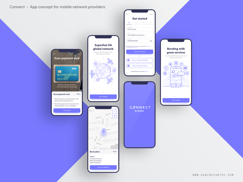 Connect - On boarding ux userinterface ui telecoms specification software sketchapp sketch schedule product design mock up mobile app minimal material design illustration design illustration google application 5g uikit