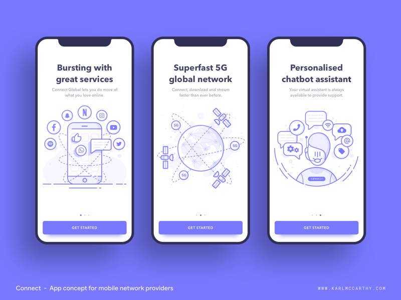 Connect - On boarding onboarding uikit 5g application google illustration illustration design material design minimal mobile app mock up product design schedule sketch sketchapp software specification ui userinterface ux
