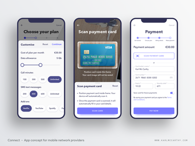 Connect - Custom plan & payment ux userinterface ui specification software sketchapp sketch schedule product design mock up mobile app minimal material design illustration design illustration google application 5g uikit onboarding