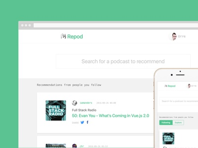 Repod podcasts webapp product website recommend podcast