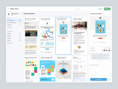 Litmus Design Library (Templates) navigation product design sidebar folders email marketing email design email template litmus email team collaboration code content blocks modules snippets partials emails templates design library design system