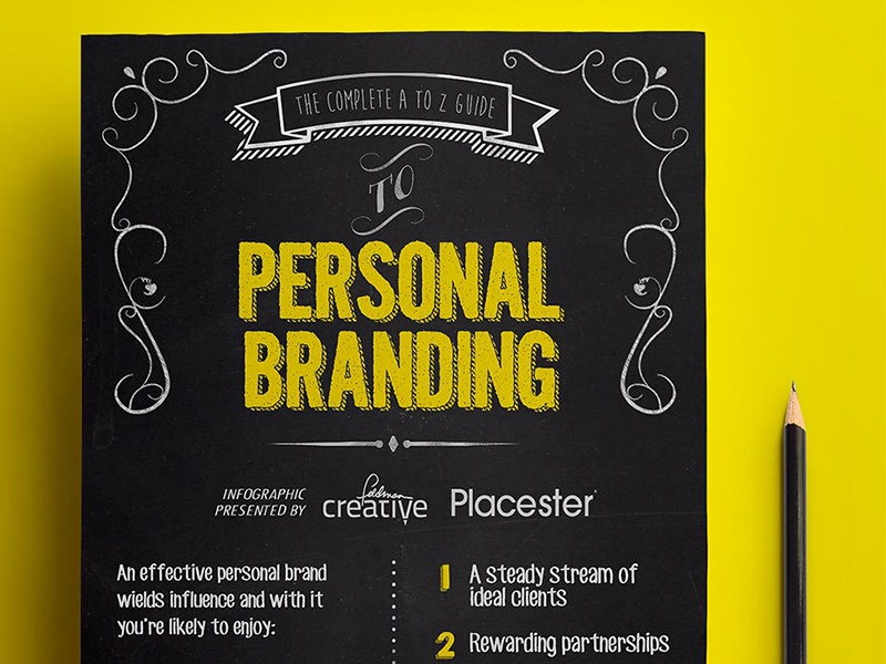 Peronal Branding Infographic infographic chalk board art visual yellow pencil sketch brand black wood