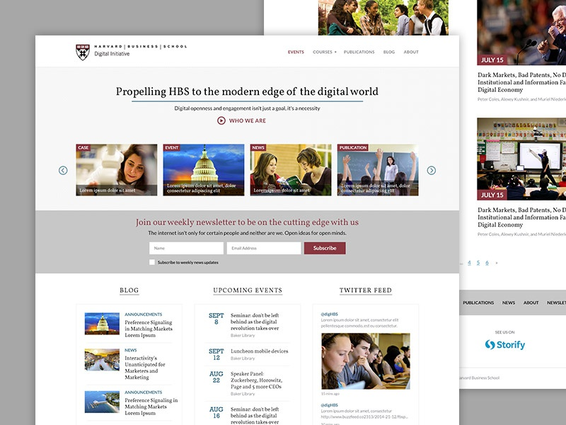 Harvard Business School: Digital Initiative Website blog ui ux website homepage marketing responsive clean landing page corporate flat