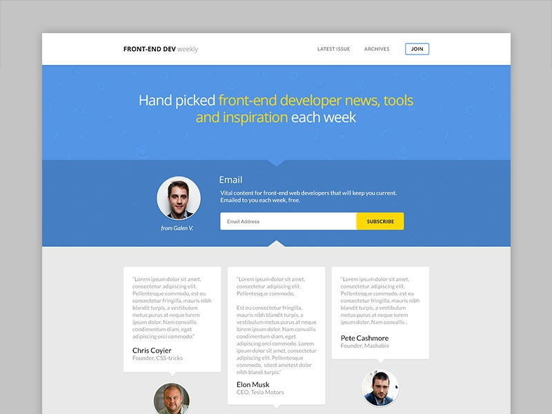 Front-end Dev Weekly Redesign ui ux blog homepage landing page clean blue sign up form action testimonials