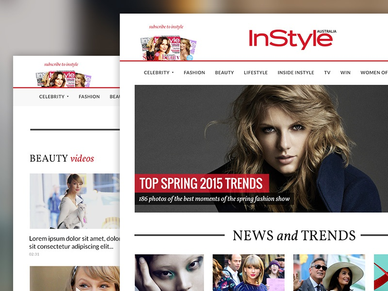 InStyle Australia Website flat clean corporate marketing print magazine responsive landing page homepage website ui ux
