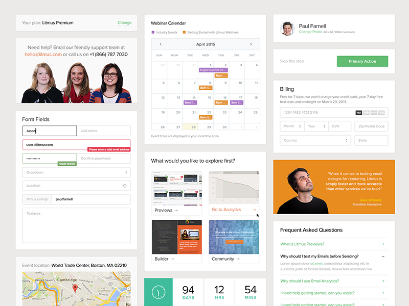 Sign Up UI Kit ui ux forms kit responsive calendar modules page website testimonial clean map