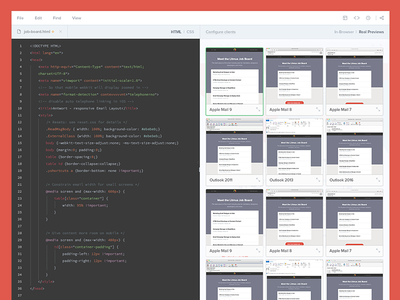 Build, Test, and Make Changes in Real Time responsive redesign html css user interface app editor code builder flat ux ui