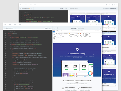 Builder, a Code Editor for Email Geeks! gmail apple product app ux ui outlook thumbs dashboard email editor code