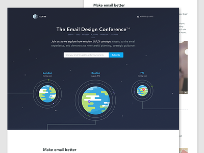 The Email Design Conference 2016 email branding web design homepage page landing illustration conference lines space planets website