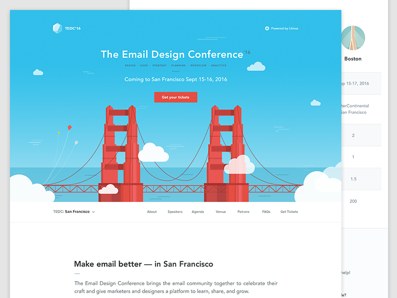 The Email Design Conference 2016 (San Francisco) clouds web design skyline homepage city bridge design email conference website