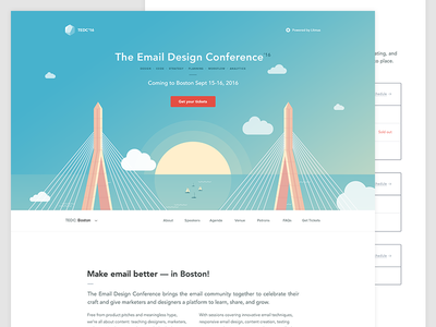 The Email Design Conference 2016 (Boston) clouds web design skyline homepage boats bridge sun email conference website