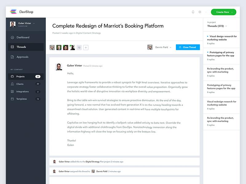 Client Management Platform redesign single detail team dropdown button timeline email navigation sidebar cards app