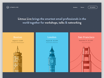 Litmus Live 2017 — Save the Date! website colors typography line art conference illustration landing page homepage cards branding email