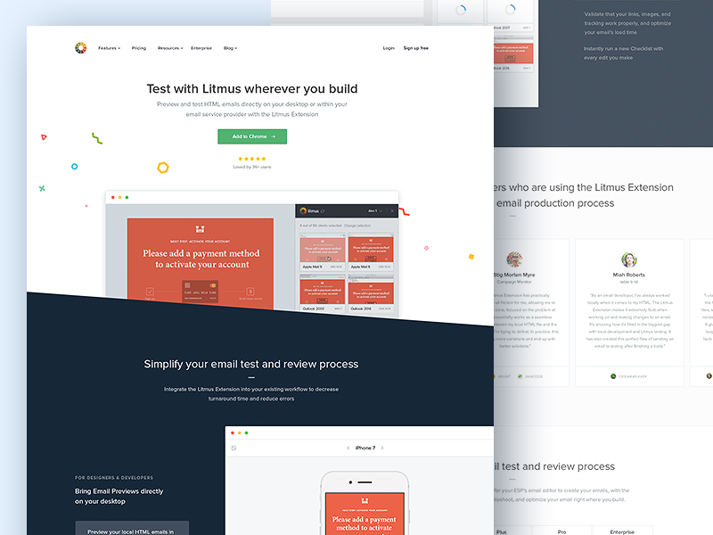 Litmus Extension: Landing Page illustration confetti website marketing sidebar landing page. web app code desktop plugin browser extension chrome