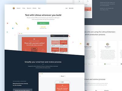 Litmus Extension: Landing Page illustration confetti website marketing sidebar landing page. web app code desktop plugin browser extension chrome