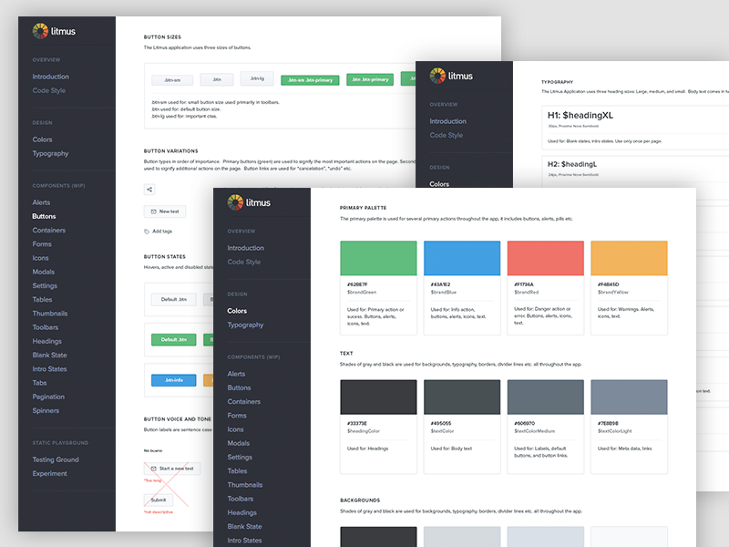 Litmus Design System: Sneak Peek ui kit components standards guidelines ui elements style guide palette colors library pattern design system