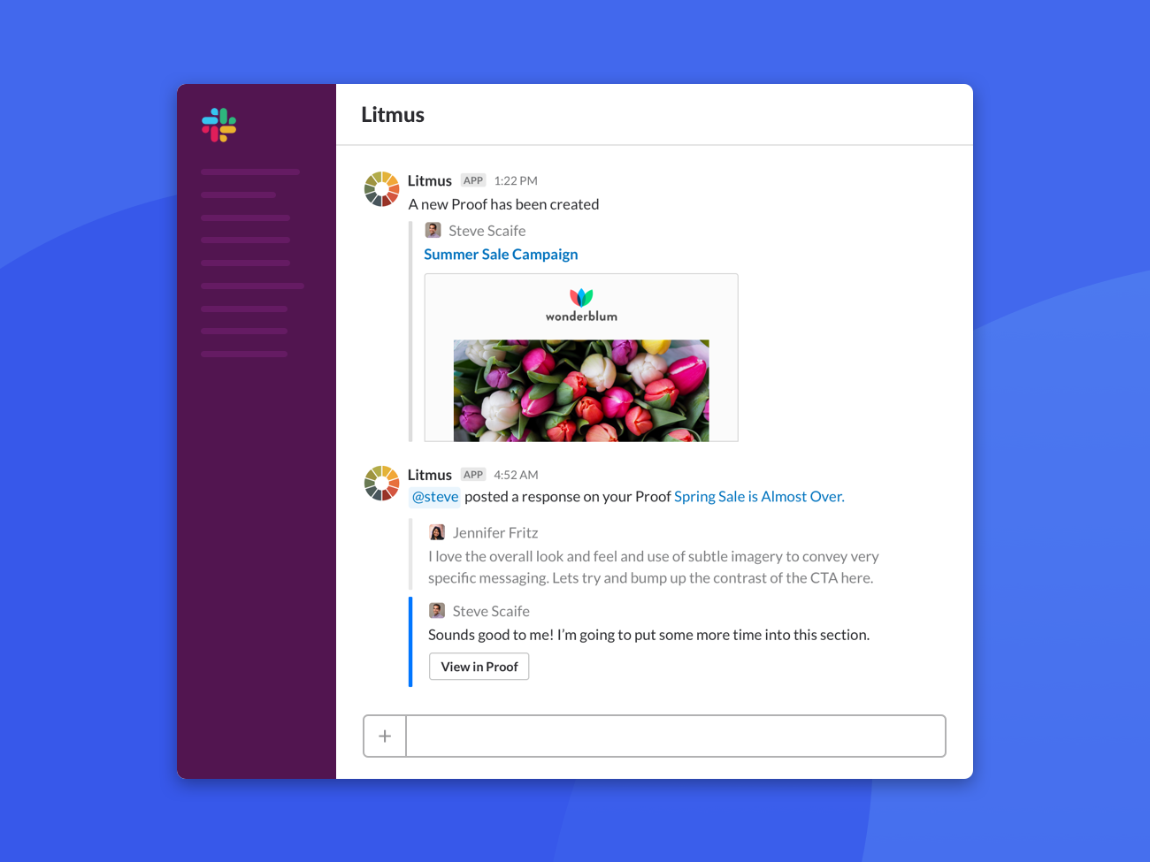 Litmus Slack Integration integrations management chat social app channel email ui collaboration notifications integration slack
