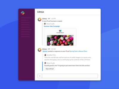 Litmus Slack Integration integrations management chat social app channel email ui collaboration notifications integration slack