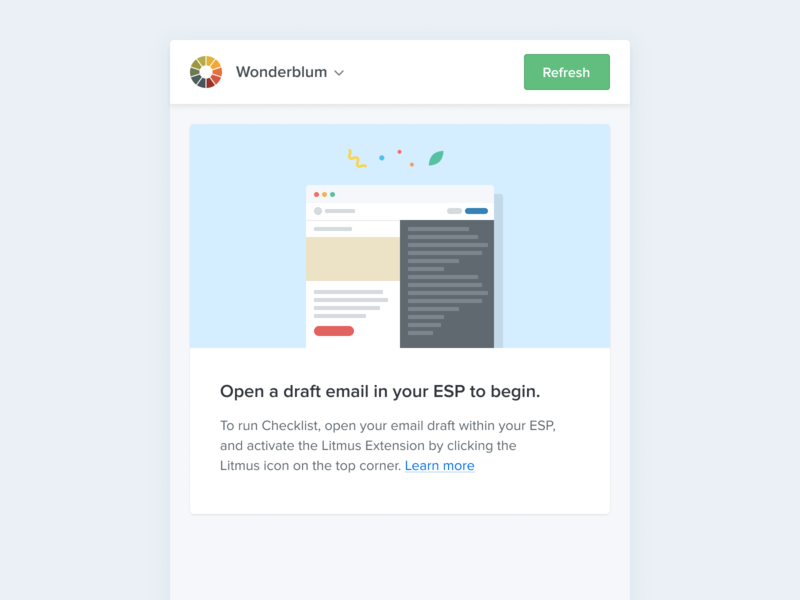 An Empty State app action blue ui vertical mobile chrome extension link button cta chrome builder confetti flat illustration blank state empty state flat design ux clean