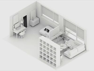 Where I Live isometric apartment furniture geometric interior design c4dfordesigners 3d rendering arnold render c4d
