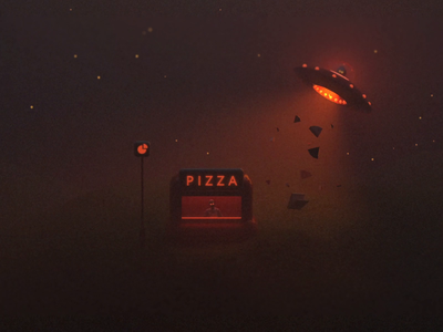 Grubduction space abduction alien ufo pizza arnold 3d rendering c4d motion loop gif