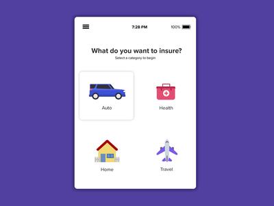 Insurance App Mockup - Categories
