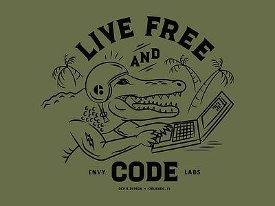 Live Free and Code laptop palm trees coding code gator alligator florida vector illustration typography orlando envy labs illustration