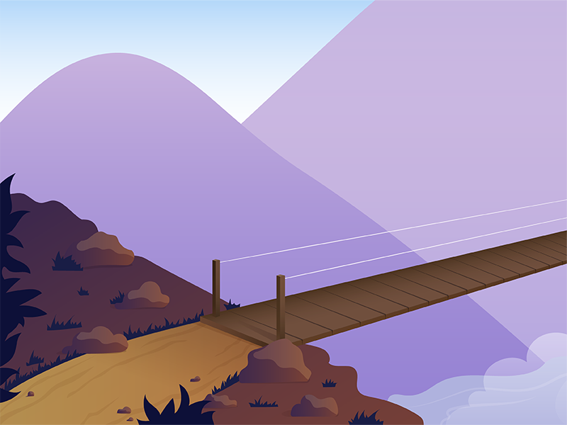 Dragons, chasms, rickety bridges, oh my! ui design illustration orlando envy labs dragon chasm mountains bridge