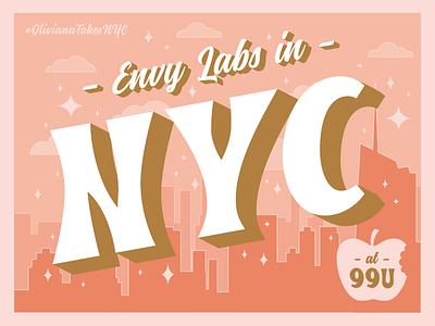 Envy in NYC typography illustation postcard apple cityscape city orlando envy labs nyc new york new york city