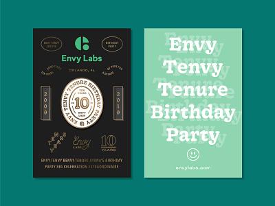 Envy Tenvy Tenure Birthday Party Pin Backs anniversary 10 years gold foil party soft enamel pin pin back florida orlando envy labs pin