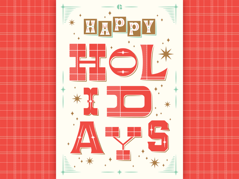 Happy holidays! plaid winter postcard typography florida orlando envy labs happy happy holidays christmas holiday holidays