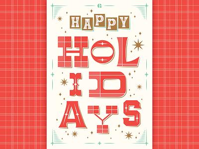 Happy holidays! plaid winter postcard typography florida orlando envy labs happy happy holidays christmas holiday holidays
