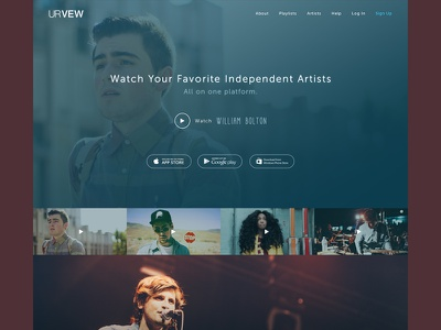 Music Landing Page gradient website landing page music video preview header iphone android windows