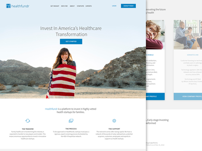 Healthcare Startup Landing Page Iteration minimal icons america clean homepage landing page web startup health