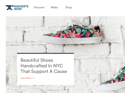 Maker's Row Homepage welcome home landing page web clean shop ecommerce storefront