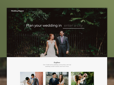 Wedding Site Overhaul ceremony icons explore map wedding home landing page redesign clean web website