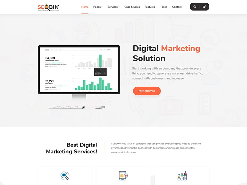 Seobin Seo Social Media And Marketing Html Template Website Services Business
