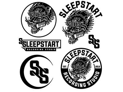 SleepStart Recording Studio vector branding design branding illustration clothing merch typography logodesign brand design logo
