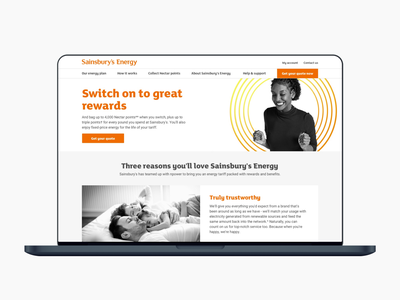 Sainsbury's Energy website ux landing page design web design ux design ui design website ui