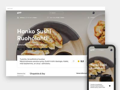 Wolt restaurant page, responsive web