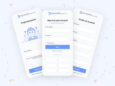 DigiApps Support Forum App | Login Flow app design mobile design uiux minimal mobile app mobile apps app mobile ui ux interface ui login form mobileapp ux ui design ui design