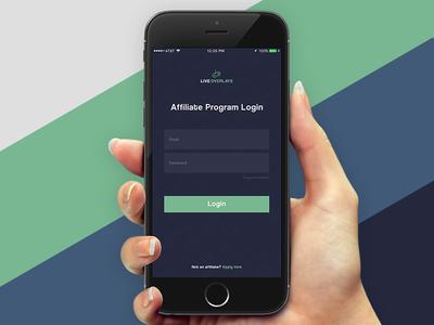 Live Overlays Mobile Affiliate Login Screen Concept