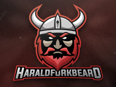 Harald Fork Beard Mascot Logo illustration design twitch branding logo creation logo design logo