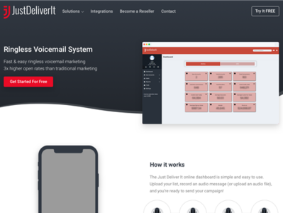Ringless Voicemail Page Concept for Just Deliver It material design website design graphic design ringless voicemail web development web design