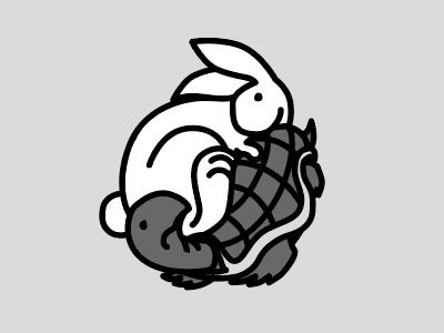 Tortoise and the Hare minimal line contrast opposites white black hare tortoise yinyang bunny rabbit turtle