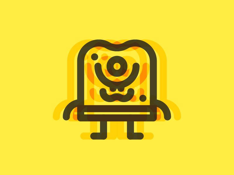 Minimal Spongebob Squarepants 1/6 thick line cartoon illustration design spongebob
