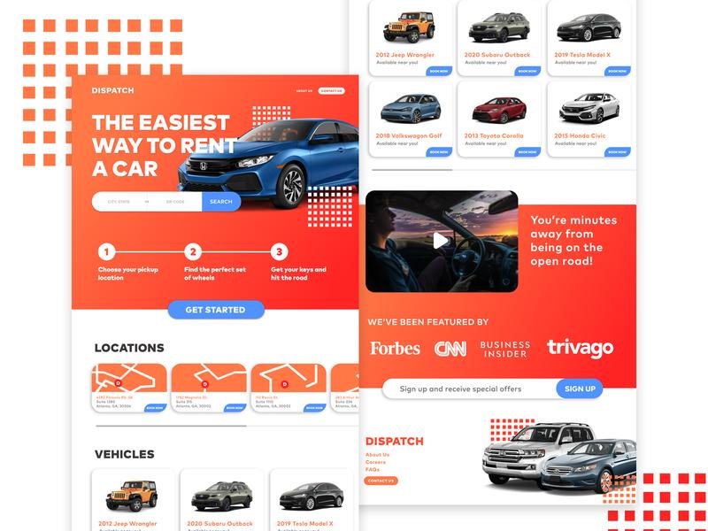 Dispatch web design webdesign website web landingpage landing rent vehicle car rental car